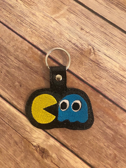 Pac-Man & Ghost Embroidered Key Chain