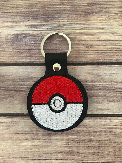 Pocket Monster Ball Embroidered Key Chain