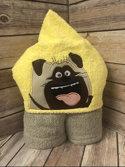 Mel Pug Dog Child Size Hooded Towel - Ready to Ship