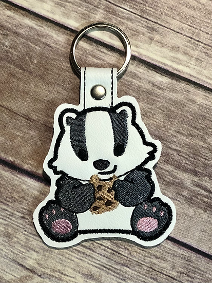 House Badger with Cookie Embroidered Key Chain