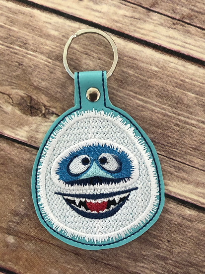 Abominable Snowman Embroidered Keychain