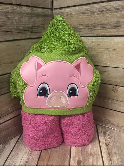 Pig Child Size Hooded Towel - Ready to Ship