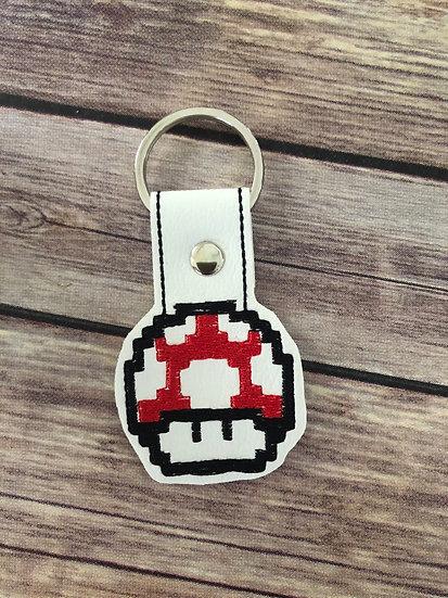 8 Bit Mushroom Embroidered Key Chain