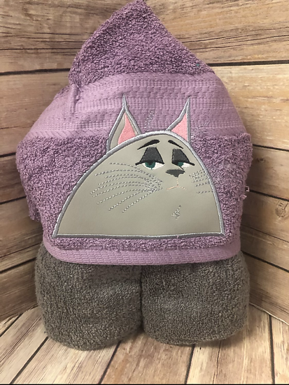Cloey Gray Cat Child Size Hooded Towel - Ready to Ship