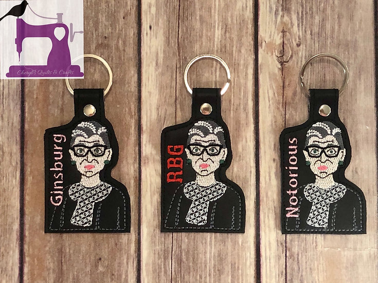 Ruth Bader Ginsburg Embroidered Key Chain