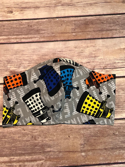 Dr Who Daleks Themed Adult Washable Fabric Face Mask - Elastic or Ties