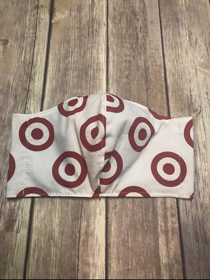 Bullseye logo Themed Adult Washable Fabric Face Mask - Elastic or Ties