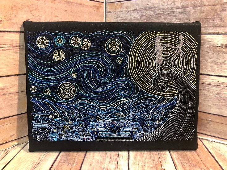 Van Gogh Starry Nightmare  - Embroidered Wall Art - Made to Order