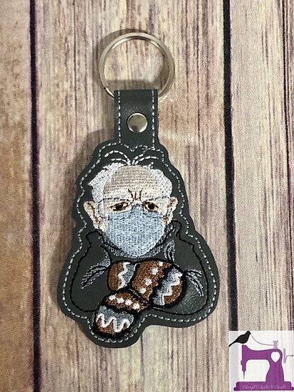 Bernie Mittens Meme Embroidered Key Chain