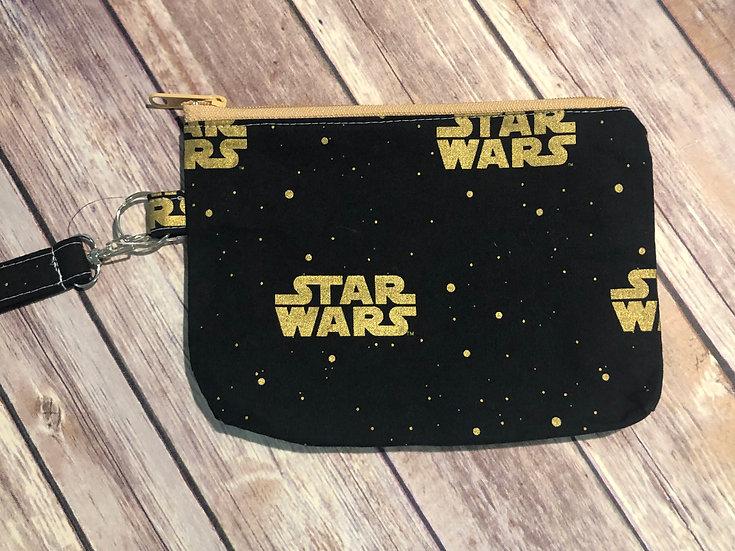 Star Wars logo on black Wristlet - Ready to Ship