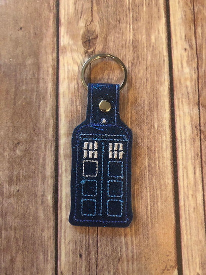 Dr Who Tardis Police Box Embroidered Key Chain