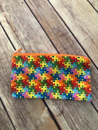 Autism Puzzle Pieces Zipper Pouch - Ready to Ship