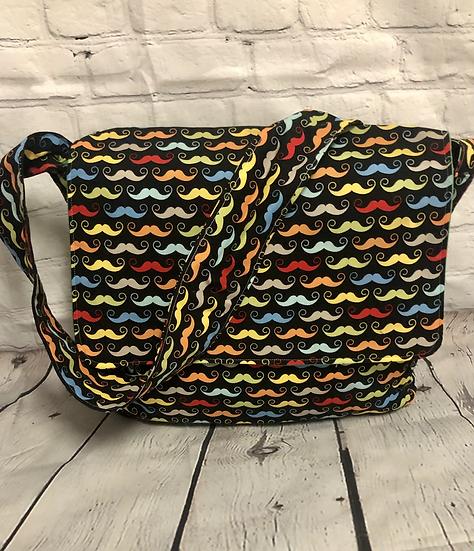 Rainbow Mustache Messenger Bag - Ready To Ship