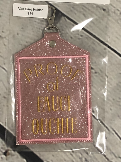Pink Glitter Fauci Ouchie Vaccine Card Holder - Ready To Ship!
