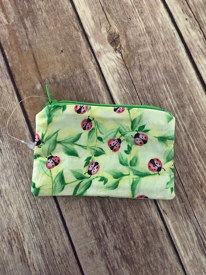 Ladybug themed Zipper Pouch - Ready to Ship