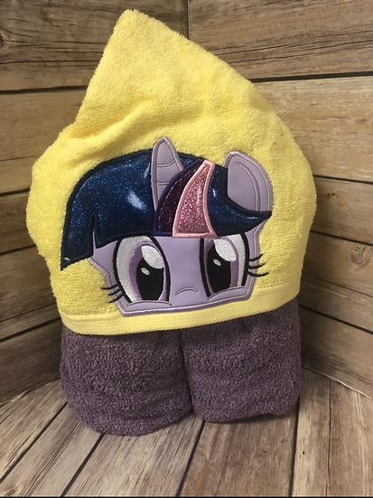 Twilight Sparkle Child Size Hooded Towel - Ready to Ship