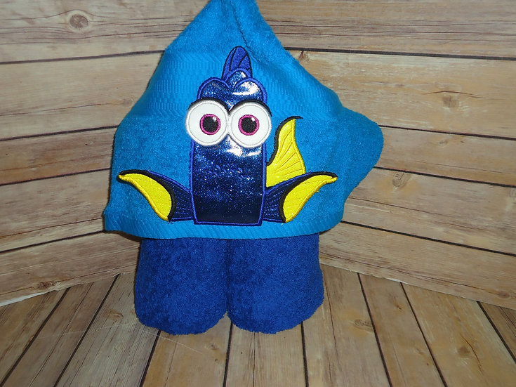 Blue Tang Fish Dory Inspired 3D Hooded Towe