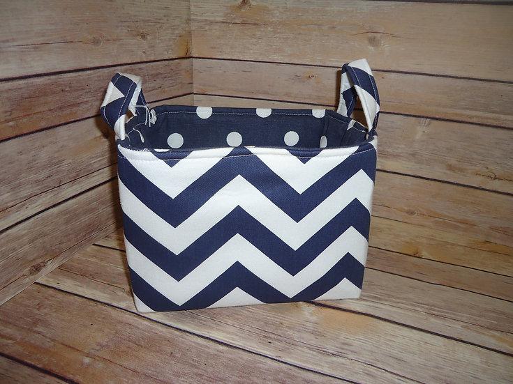 Navy Blue & White Chevron Fabric Storage Basket