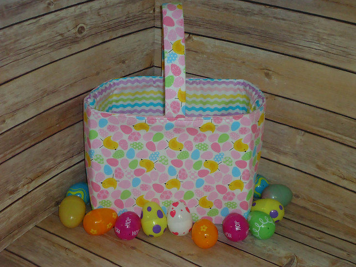 Easter Fabric Basket ~Pink Eggs & Chicks