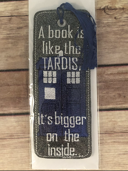 A Book is like the Tardis... Vinyl Bookmark - Ready to Ship