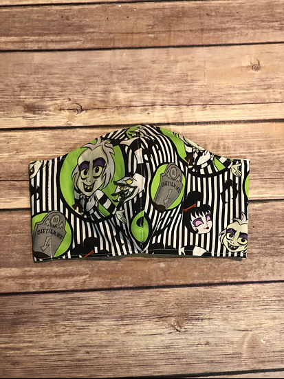 Striped Beetlejuice Adult Washable Fabric Face Mask - Elastic or Ties