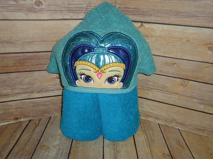 Blue Genie Shine Inspired Hooded Towel