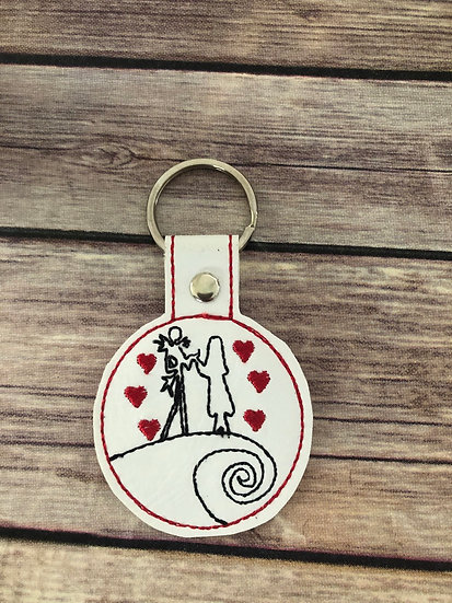 Jack & Sally Silhouette Embroidered Key Chain