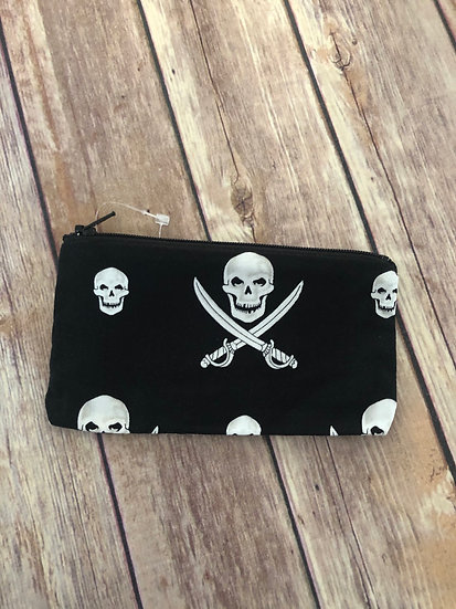 Skull and Crossbones Zipper Pouch - Ready to Ship