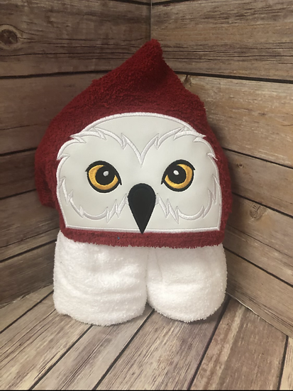 White Owl Child Size Hooded Towel - Ready to Ship