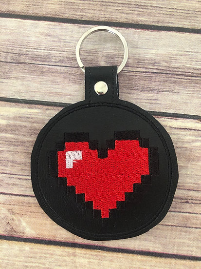 8 bit Heart Embroidered Key Chain
