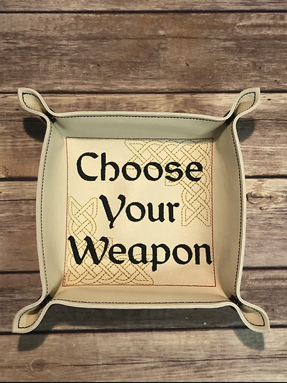 Choose Your Weapon Square Portable Dice Tray - Ready To Ship