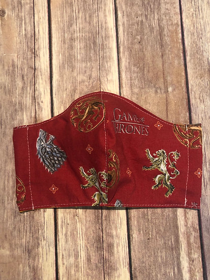 Game of Thrones  Themed Adult Washable Fabric Face Mask - Elastic or Ties