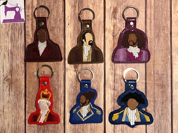 Hamilton the Musical Embroidered Key Chain - Choose your Character