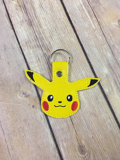Pocket Monster Pikachu Head Embroidered Key Chain