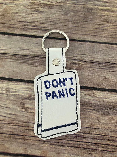 Don't Panic Towel Embroidered Key Chain
