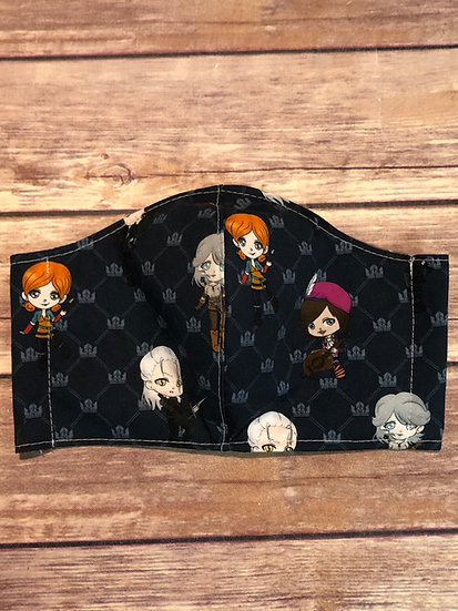The Witcher Chibi Themed Adult Washable Fabric Face Mask - Elastic or Ties