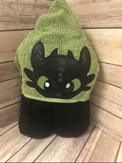 Toothless Black Dragon Child Size Hooded Towel - Ready to Ship
