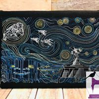 Van Gogh Rebel Starry Wars - Embroidered Wall Art - Made to Order