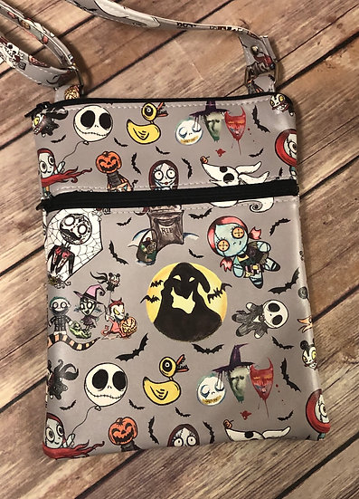 Nightmare Before Christmas Faux Leather Double Zip Crossbody Bag - Ready t