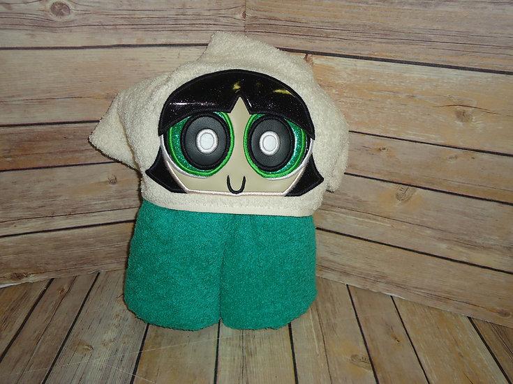 Green Power Girl Hooded Towel
