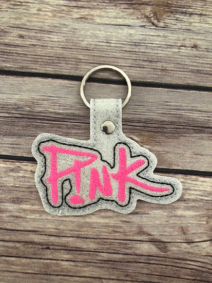 Pink Embroidered Key Chain