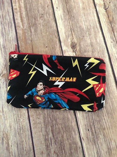 Superman on black Zipper Pouch - Ready to Ship