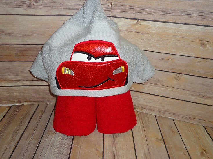 Lightning McQueen Inspired Hooded Towel