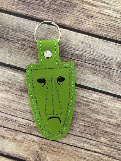 Shock Mask on lime Embroidered Key Chain
