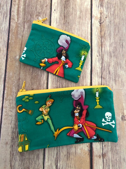 Peter Pan/ Captain Hook Zipper Pouch - Ready to Ship