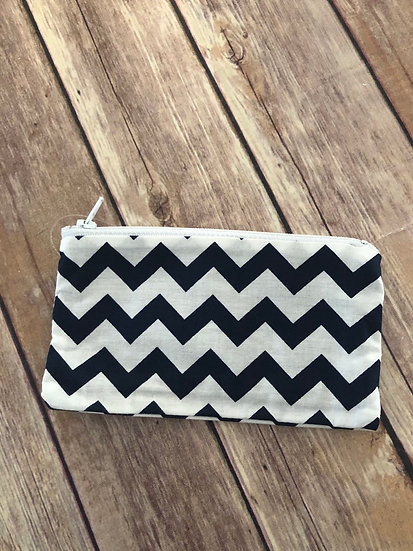 Black and White Chevron themed Zipper Pouch - Ready to Ship