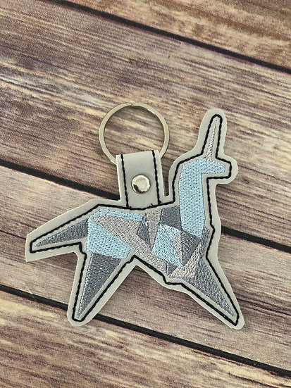 BladeRunner Origami Unicorn Embroidered Key Chain