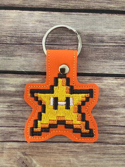 8 bit Star Embroidered Key Chain
