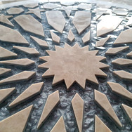 waterjet glass and marble medallion