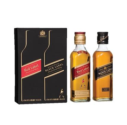 Johnnie Walker Black & Red Gift 200ml X 2